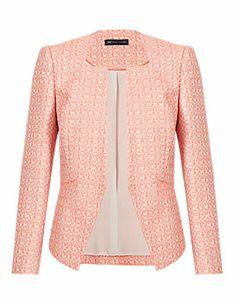 Coral Mix Petite Tweed Geometric Jacket
