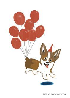 Corgi with Balloons Greeting Card Fine Art Prints, Cool Designs, Corgi, Original Paintings, Balloons, Greeting Cards, Menu, Hand Painted, Drop