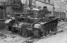 A Cromwell Tank knocked out by Wittmann. It had tried to reverse out of Wittmann's sight but was hit just before it turned a corner to safety
