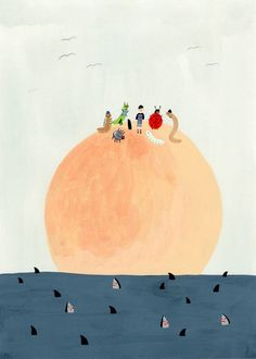 James and the giant peach illustration