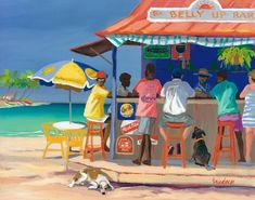 Shari Erickson - Belly up bar - Camaieu - Art Gallery - Saint Martin Caribbean Art, Caribbean Homes, Caribbean Culture, Haitian Art, Tropical Art, Tropical Paintings, Colorful Paintings, Canvas Online, African American Art