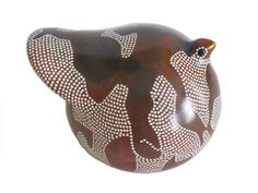 Ethiopian Guinea Fowl Clay Figure - Brown and White - Traditional Decoration