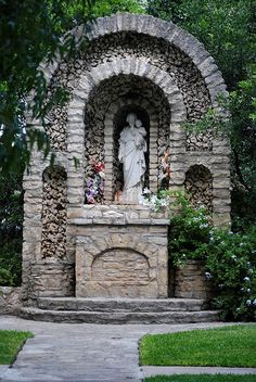 This pretty outdoor shrine honoring St. Joseph is a wonderful place to pray. He is the patron saint of working people and the heads of families. In devotional art, St. Joseph is almost always depicted holding the Infant Jesus.