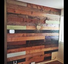 Decorative Wood Walls wall panel inside industrial warehouse. made from pallet wood