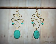 Celtic Twist Gold Wire-Wrapped Earrings with Semi-Precious Turquoise Stones and Czech Fire-Polished Seed Beads