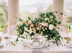 Blush and Ivory Centerpiece with Greenery | photography by http://holeighvphotography.com/