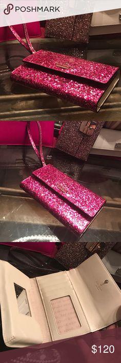 Kate Spade Pink Glitter Wristlet Pink Glitter Wristlet by Kate Spade ♠️$175 kate spade Bags Clutches & Wristlets