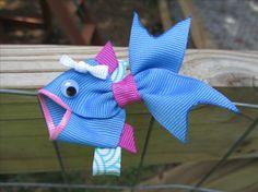 Love Fish DIY hair bow for Kids! Sculpted Ribbon Hair bows @ DIY Home Ideas