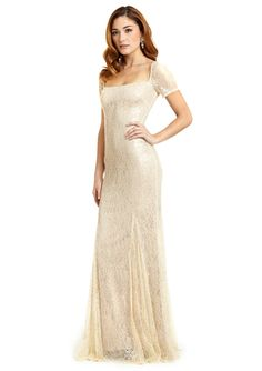BADGLEY MISCHKA Short Sleeve Antique Lace Gown