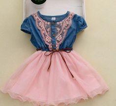 Pink Dress Girls Denim Dress Girls Cowgirl Toddler Western Dress  | sariasknitncrochet - Children's on ArtFire: