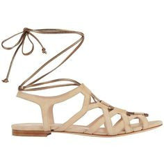 Duccio Venturi Metallic Tie Suede Gladiator Sandal | INTERMIX ($340) ❤ liked on Polyvore featuring shoes, sandals, roman sandals, ankle tie sandals, beige sandals, wrap sandals and caged gladiator sandals