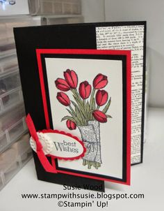 Stampin' Up!- A beautiful Tulip bouquet made with the 'Love Is Kindness' set & colored with Cherry Cobbler & Old Olive Blendabilities.
