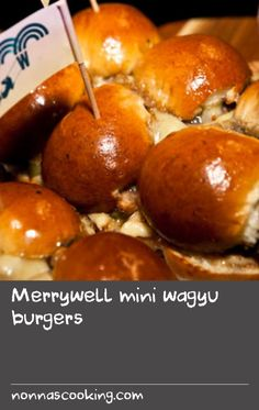 Merrywell mini wagyu burgers | The secret to The Merrywell's award-winning burger is our special sauce and house ketchup. We can't share the secret recipe but we can pass on a few tips. Grilling over an open flame adds smoky flavour. Keep toppings simple, too – all you need is cheese, pickles (homemade if possible) and caramelised onion. I like to serve 3 mini sliders (burgers) per serve. If you don't have a wood-fire, simply grill the burgers on a barbecue. Level of difficulty: easy Barbecue Sauce Recipes, Grill Recipes, Burger Recipes, Cheese Recipes, Easy Recipes, Best Donut Recipe, Donut Recipes, Homemade Wine Recipes