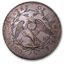 """In 1782: The Great Seal is adopted and the bald eagle becomes standard symbol of the United States. This copper dollar from 1794 carries the first depiction of an eagle on any U.S. national coin."""