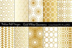 Gold White Mod Geometrics Graphics An updated collection of 10 mod geometric patterns in gradient gold and white. Patterns are x 12 by Melissa Held Designs Art Deco Design, Paper Design, Graphic Patterns, Geometric Patterns, White Patterns, Design Trends, Web Design, Design Movements, Interior Design Business