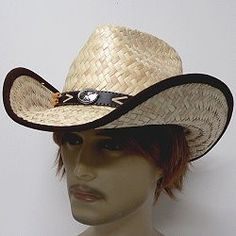 558ae344 Cowboy hats in rugged palm straw with a brown leatherette band that has a  concho in