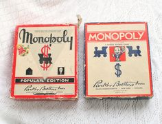 2 VINTAGE MONOPOLY Games Boxes Retro by CamanoIslandVintage, $22.50