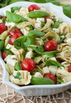 Caprese Tortellini Pasta Salad, Tortellini Kebabs, and Pesto Veggie Dip!