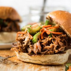 Slow Cooker Korean Pulled Pork Sandwich with Cucumber Kimchi and Gochujang BBQ Sauce