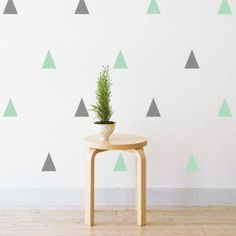 Pastel Grey & Mint Triangle Wall Stickers