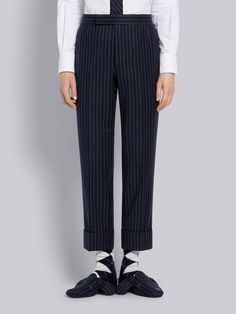$1290.0. THOM BROWNE Pant Thom Browne Navy Ground Chalk Stripe Wool Flannel Classic Trouser #thombrowne #pant #knit #wool #clothing