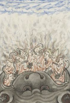 """theraccolta: """" Hellmouth devouring the Damned """"And they went down alive into hell the ground closing upon them, and they perished from among the people. Medieval Drawings, Medieval Art, Medieval Manuscript, Illuminated Manuscript, Illustrations, Illustration Art, Pope Innocent Iii, To Serve Man, Heaven And Hell"""