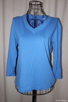 CHICO'S TOP 0 S Small Solid Blue Vneck 3/4 Sleeve Knit Trim Ladies Casual #Chicos #KnitTop #Casual