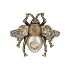 Bee ring with crystals and pearl - Gucci Fashion Rings Gucci Jewelry, Bee Jewelry, Luxury Jewelry, Custom Jewelry, Jewelry Rings, Jewelry Accessories, Women Jewelry, Jewelery, Candy Jewelry