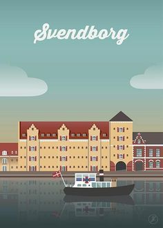 Svendborg - str. A3 plakat fra Jeanet kristensen Poster Retro, Vintage Poster, Vintage Travel Posters, Getting Married In Denmark, Copenhagen Design, Tourism Poster, Vintage Landscape, Art Vintage, Design Poster