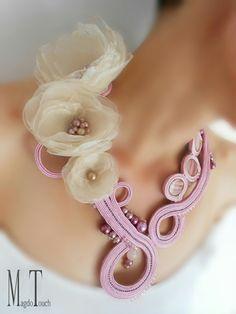 'Hold me' ooak soutache necklace, artistic necklace, jewelry artwork, statement necklace, handmade organza flowers, original design, modern neckalce