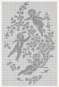 ru / Photo # 44 - Rare and beautiful scheme - Olgakam cherubs, vintage hand, crochet filet Crochet Angel Pattern, Crochet Angels, Crochet Cross, Easy Crochet Patterns, Thread Crochet, Hand Crochet, Stitch And Angel, Cross Stitch Angels, Cross Stitching