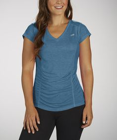 Love this Heather Blue Ruched Slimming Tee by Marika on #zulily! #zulilyfinds