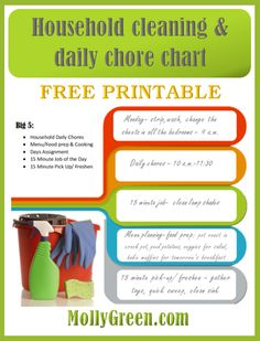 free printable chore chart & daily cleaning schedule