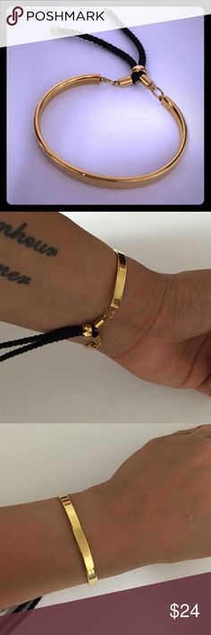Fashion Gold Bracelet New! Adjustable stainless steel gold bracelet. Cords are easily pulled to your width of your wrist. Jewelry Bracelets