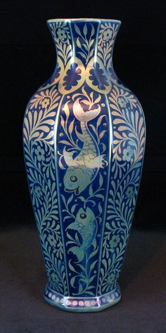 """William De Morgan Vase decorated with fish in 'Sunset and Moonlight Suite' by Fred Passenger. Marked FP. 10"""" high. Circa 1900 Glass Ceramic, Ceramic Clay, Arts And Crafts Movement, Porcelain Ceramics, Pottery Art, Ceramic Pottery, Art Nouveau, English Pottery, William Morris Art"""