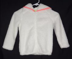 Girls CRAZY 8 Hoodie Size 5T White Pink Sherpa Jacket Everyday Solid Long Sleeve #Crazy8 #Jacket #Everyday