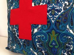 Swiss Cross Decorative Pillow Cover 20 x 20 by sheshappydesign