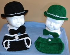 Bowler hat, diaper cover and bow tie setd