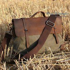 14 Inch Canvas Leather Briefcase Messenger Bag Shoulder Bag Laptop Bag