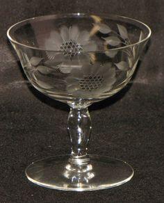 24d3d104c77 Vintage W J Hughes 12 Petal Cornflower Crystal Parfait Sherbet Stem Glass  Goblet