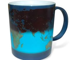 Witness the magical process of daybreak every time you're on a coffee break by drinking from this day and night heat sensitive mug. Upon adding hot liquid into the ceramic mug, the scenic nighttime landscape begins ceding to the bright day.
