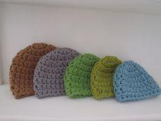 Crochet Pattern - Chunky Basic Beanie Hat (Newborn to Adult) with Crochet Flower