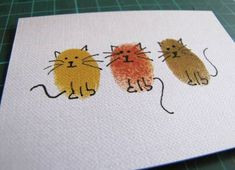 kitty cards…would make nice xmas cards if you add some holly around their necks or a santa hat. kitty cards…would make nice xmas cards if you add some holly around their necks or a santa hat. Fingerprint Art, Art Carte, Karten Diy, Ideias Diy, Cat Cards, Cards Diy, Kids Cards, Artist Trading Cards, Watercolor Cards