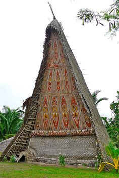 MELANESIA: Ceremonial Men's House, Papua, New Guinea. he ceremonial Men's House is the sacred dwelling of the initiated men and of the spirits. This kind of building is found in many cultures of Oceania, but those of the Middle Sepik are the most elaborate from an aesthetic viewpoint. Called tambaran, these constructions can reach 25 metres in length and exceed 18 metres in height.