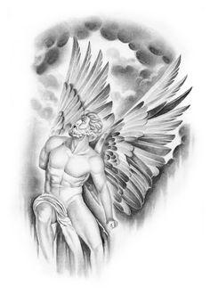 Depuis une simple idée nous créons ton dessin de A à Z Zeus Tattoo, Statue Tattoo, Angel Tattoo Designs, Design Tattoo, Tattoo Sleeve Designs, Sleeve Tattoos, Religion Tattoos, Tattoo Drawings, Body Art Tattoos