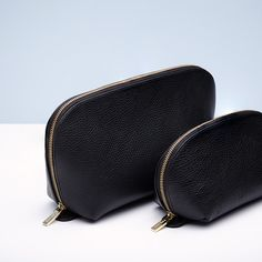 Everything has its place inside our pebbled leather case set. Unzip the large case to stow all your travel-sized toiletries. Save the small case for make-up, jewelry or any other small necessities. And don't be fooled by the name. While this set is always ready to travel, it's just as useful – and beautiful – in your home bathroom, bedroom or office.