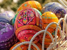 Quintessential spring decor -- stunning handcrafted pysanky eggs from Ukraine.