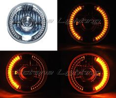 """7"""" Amber LED Projector Halogen Motorcycle Halo Blinker Turn Signal Headlight in eBay Motors, Parts & Accessories, Motorcycle Parts 