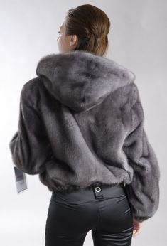 Hooded Blue Iris mink fur jacket