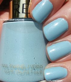 This summer, my default toenail polish color is light blue. this is one of my favorites- it's actually Revlon, with a very slight shimmer in it. I think it's called Blue Lagoon.